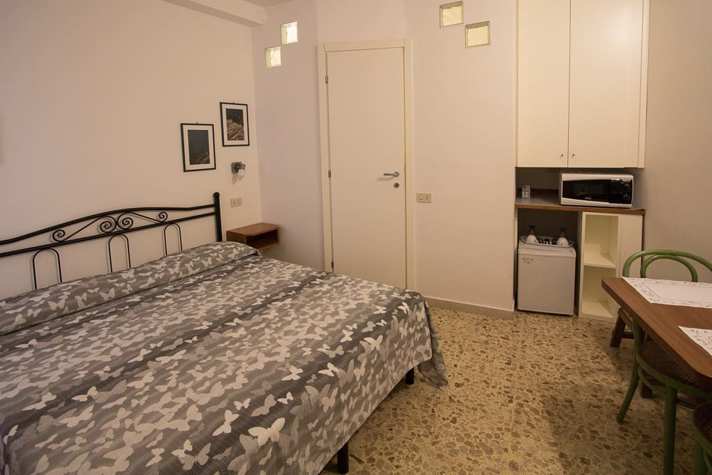 The room has a small refrigerator, microwave oven, and a small built-in closet to store your belongings.