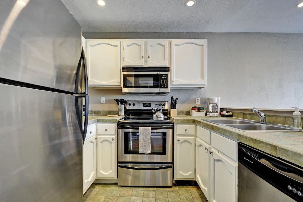 Our kitchens have a refrigerator, stove, oven, microwave, and dishwasher.