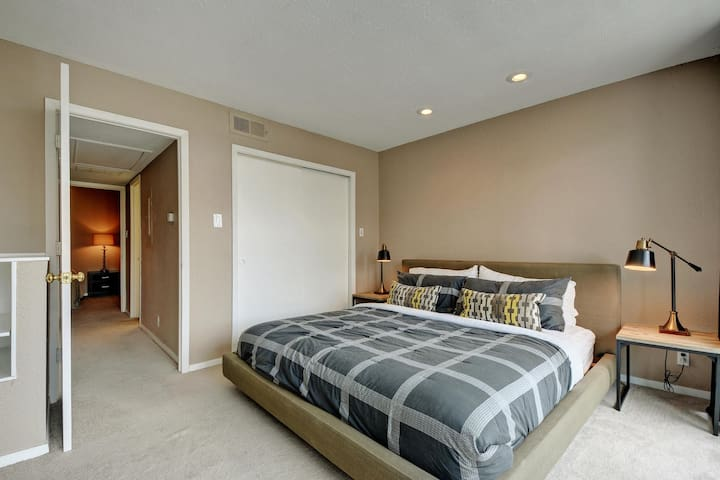1 King bed upstairs in a private room