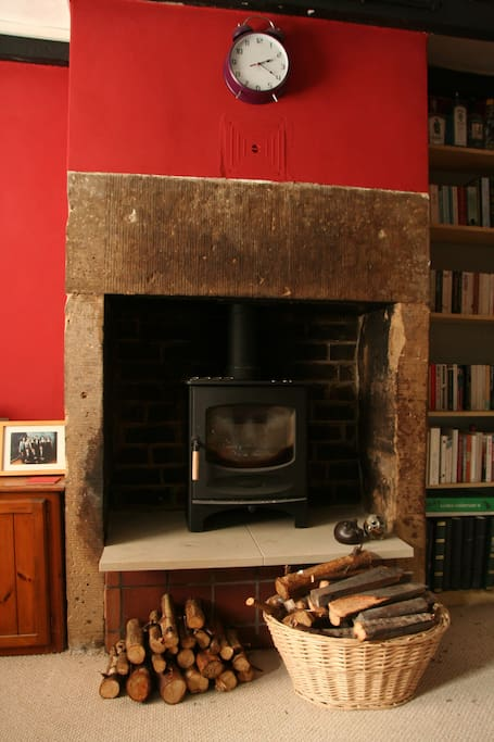 A wood burning stove makes the room toasty in the winter (with gas central heating too)