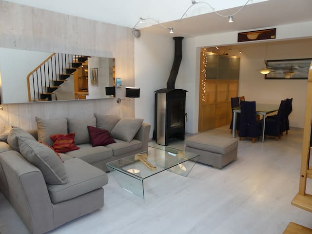 The living room with a large convertible sofa.