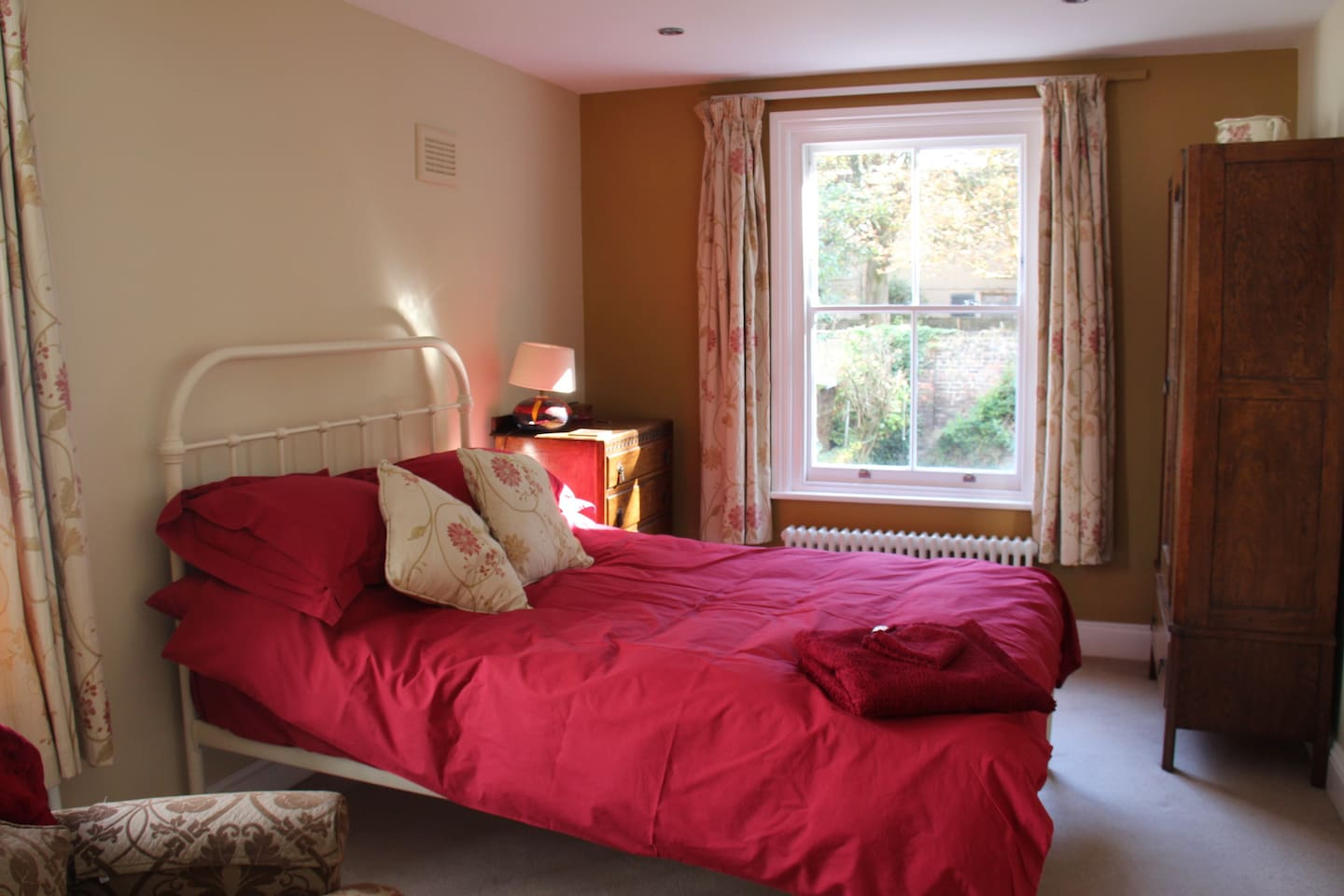 Real double bed with duvet and cotton sheets
