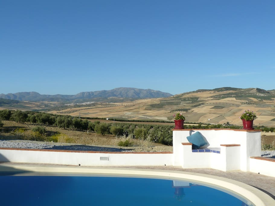 Swimming pool with views to open countryside