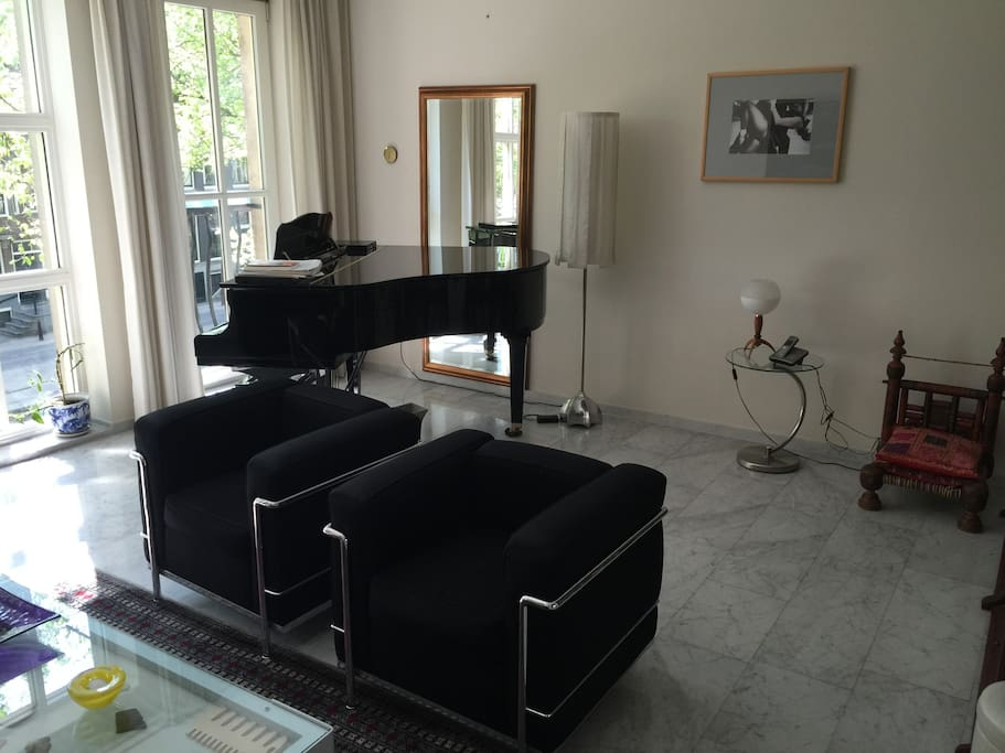 Baby grand piano in the living room