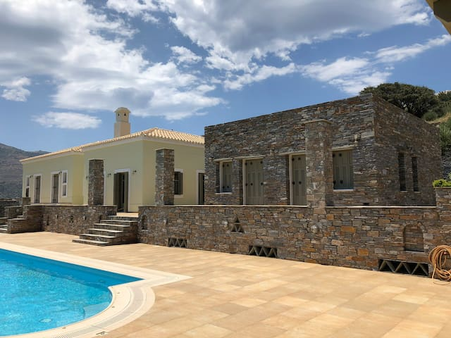 Andros panoramic view house with private pool