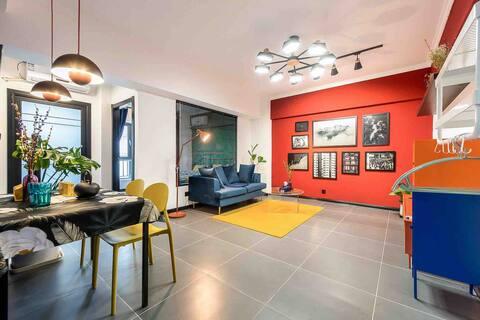 ONE DAY钟楼回民街旁地铁口市中心 后现代摩登风设计师彩色公寓