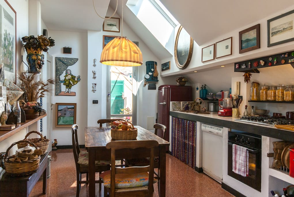 The kitchen, where breakfast is served when the weather doesn't allow to use the terrace