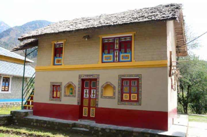 Traditional Una village mud house in Palampur