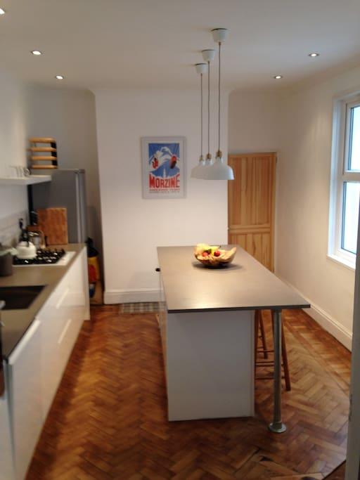 Brand new modern kitchen with breakfast Bar