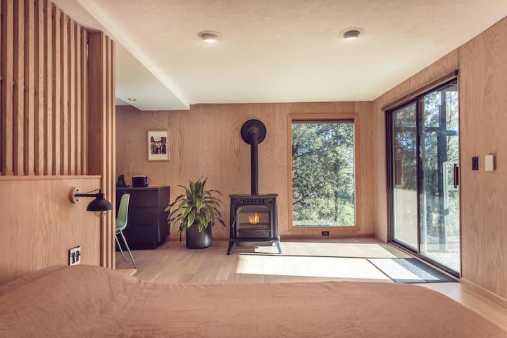 Master Bedroom / Kitchenette with Pellet Stove