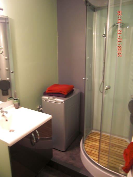 salle de bain très agréable avec lave linge