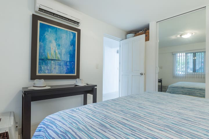 Bedroom with King Size Bed, big closet and air conditioned.