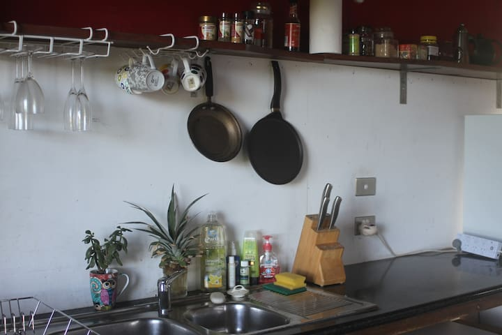 Kitchenette with fridge, kettle, toaster, small electric cook top and stove.