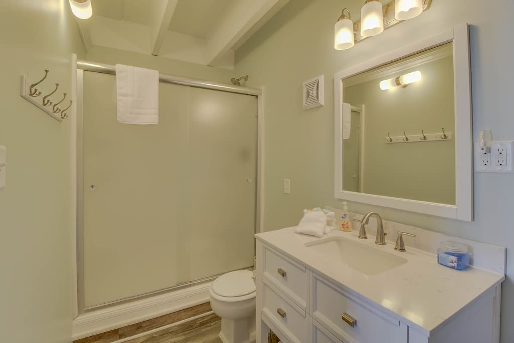 Beautiful marble top vanity with plenty of room to store your things!