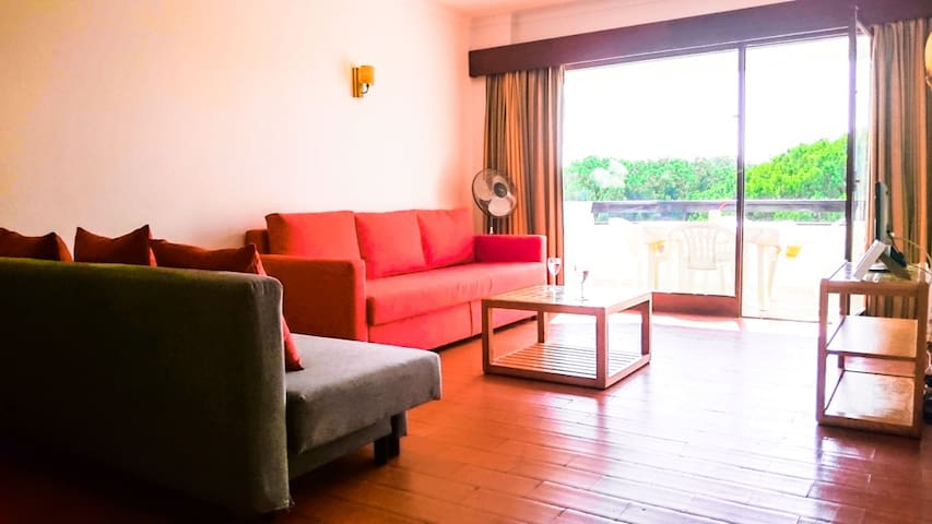 Living Room with the Main Balcony view