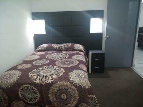 Amaplia y comoda habitacion principal con closet y television