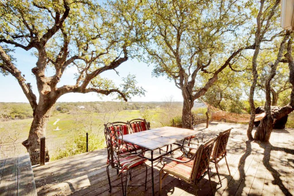 Fire up the gas grill and dine al fresco at the 6-person patio table on the deck.