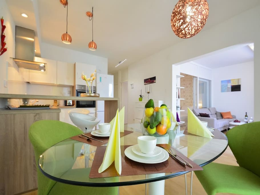 Modern kitchen with dinning area