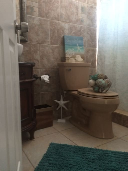 Bathroom with shower. Bathrooms are boring but Golf cart rentals are fun reserve yours today!