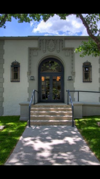 The Spanish Colonial Revival front entrance.