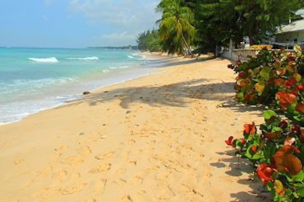 Sandy, white beach, crystal clear water, uncrowded. Gentle waves, long stretch of beach.
