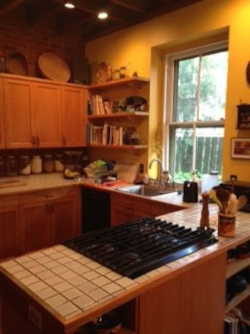 full kitchen with gas stove, microwave, etc.