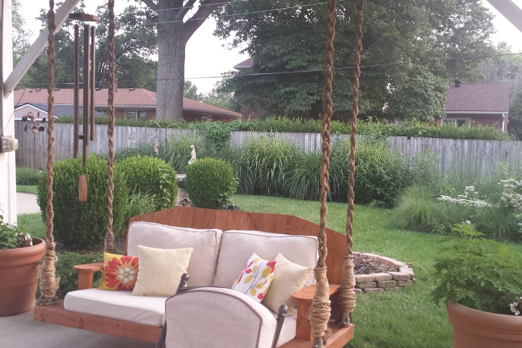 custom sofa swing/ day bed, another comfort of the Bluegrass Bungalow!