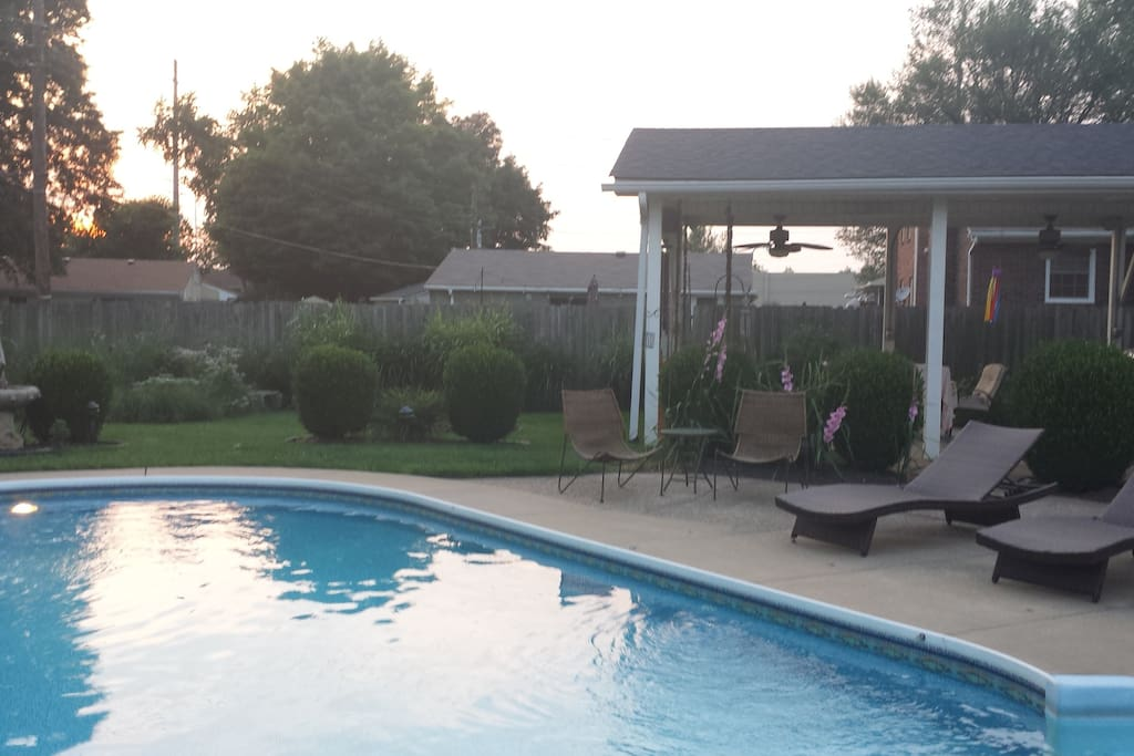 Evening view of the heated pool & patio