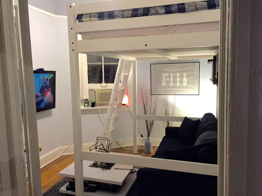 Full size loft bed, Couch under bed with TV