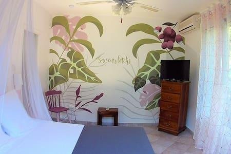 Chambre Saveur Letchi (lit 160cm + TV écran plat + accès terrasse privée + clim + SdB privative + mini-frigo + bouilloire + coffre-fort)