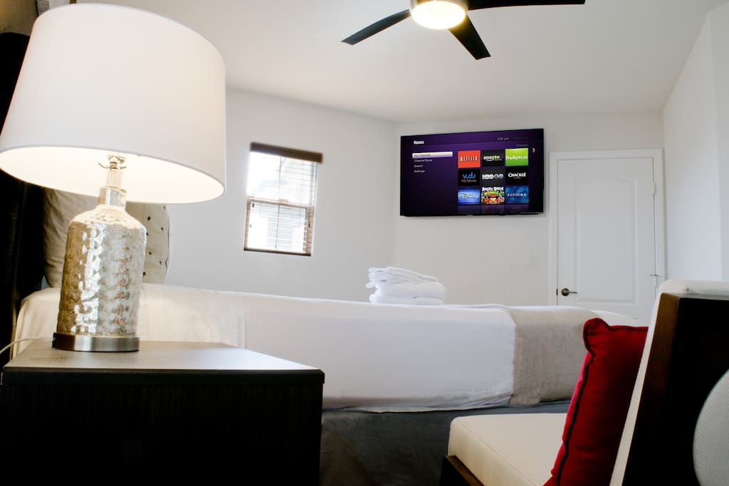 Large flat screen TV with Roku, Netflix, & Amazon Prime Video
