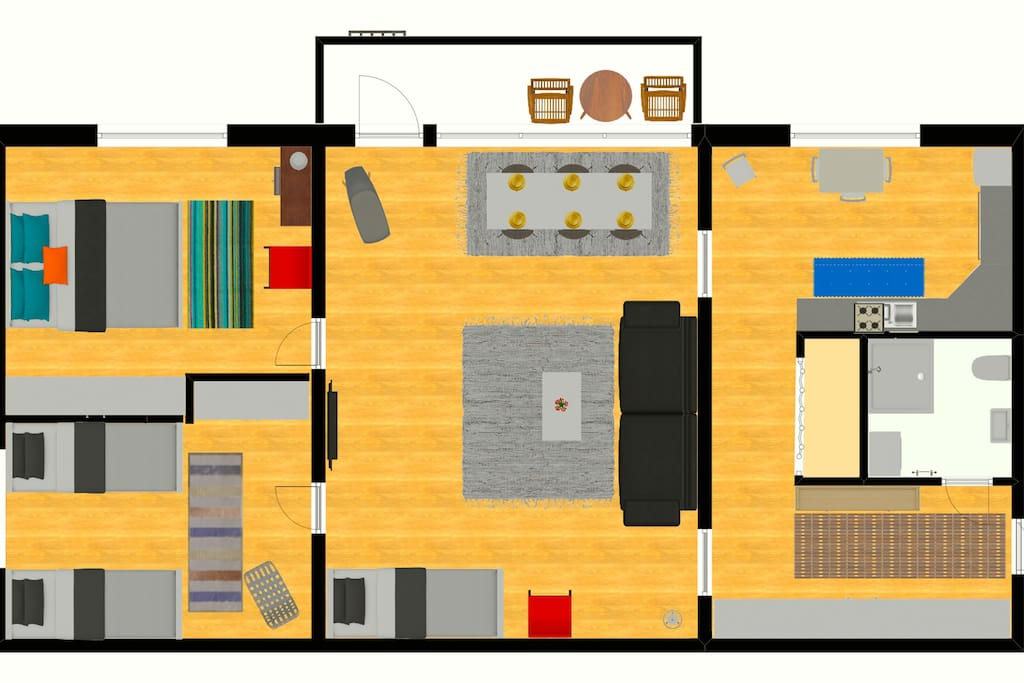 Layout and actual furnishing inside.