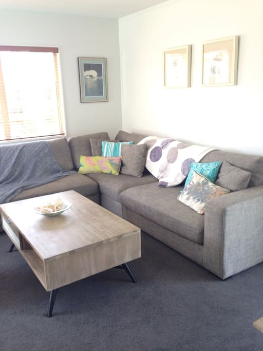 Open plan living / dining room off kitchen. Aircon/heat pump and Smart TV.