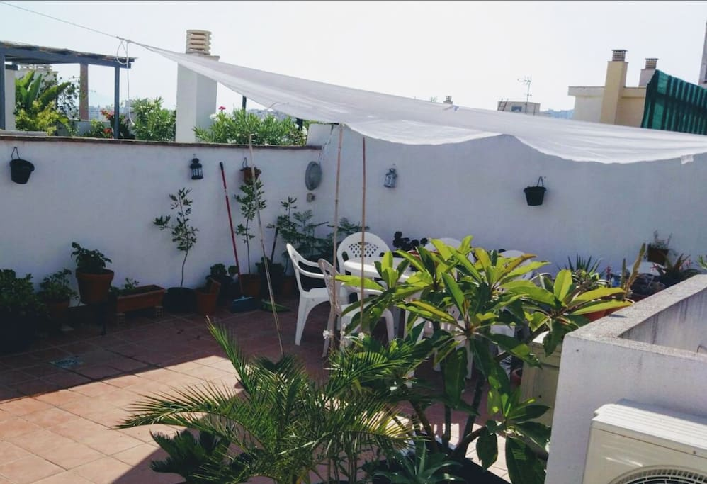 Roof terrace eating area