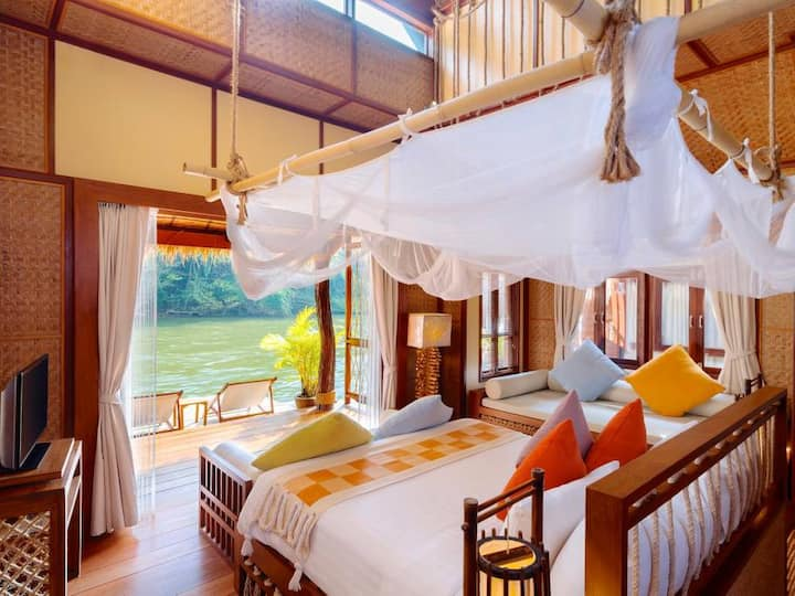 Contemporary Villas Floating on River Kwai