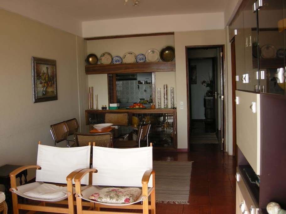 Living and dinning room with kitchen behind