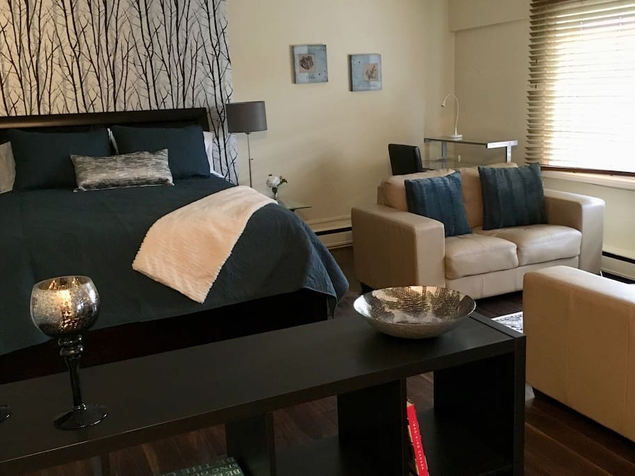 This welcoming and stylish studio condo offers a brand new queen sized bed, business ready workspace, comfy leather loveseat and chair for relaxation, a private attached kitchen, and a nice washroom. Ideal for business or pleasure stays in Winnipeg!