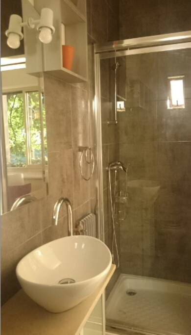 Salle de bain design.  (shower and rest room design.)