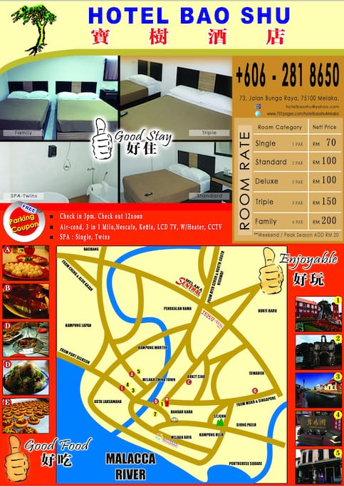 Best location, adjacent to Jonker street & famous food stalls.