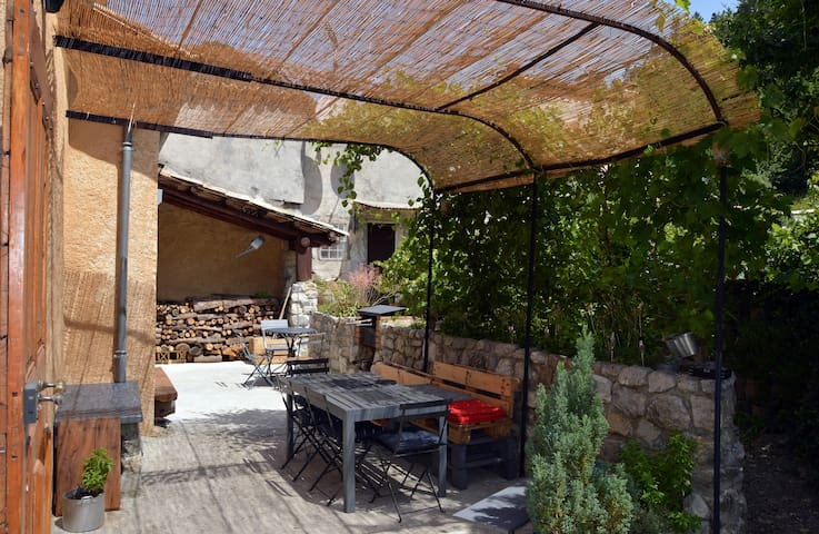 Terrasse nord, ombragée avec barbecue