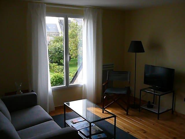 Le coin salon avec la télévision et vue sur un jardin