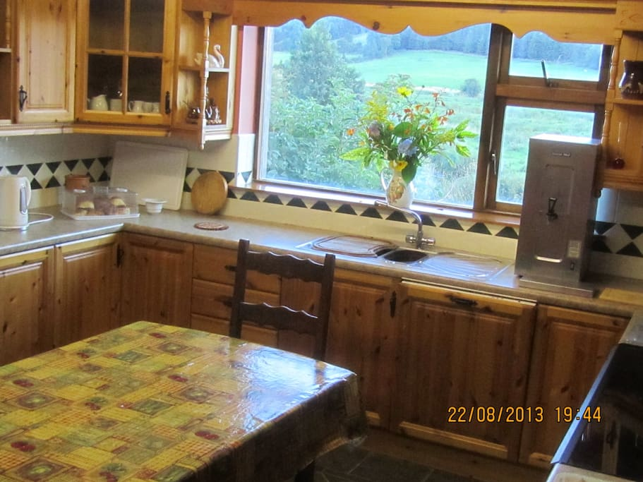 cosy kitchen, fully equipped, with beautiful view over local 'curragh'