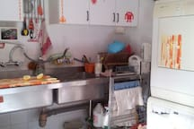 Kitchen with washing and drying machine