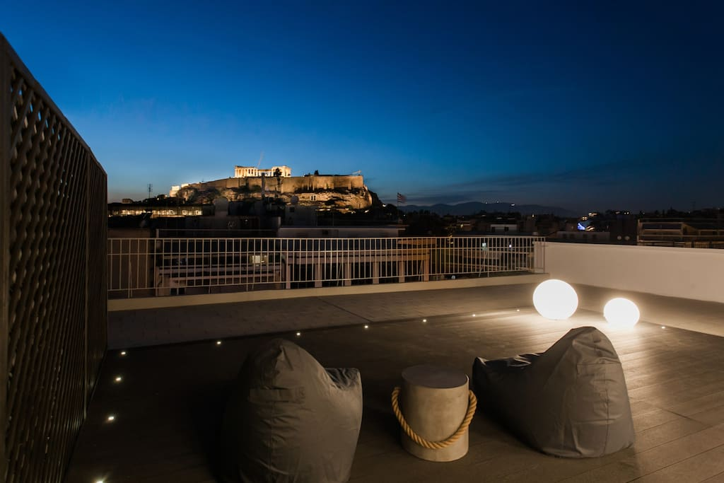 The outside terrace offers panoramic views of the Acropolis, Lycabettus hill, Philopappos hill, mount Imittos and even the sea at the distance