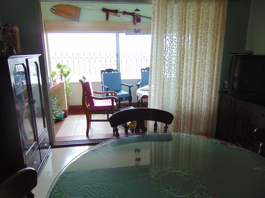 View of balcony from dinning space