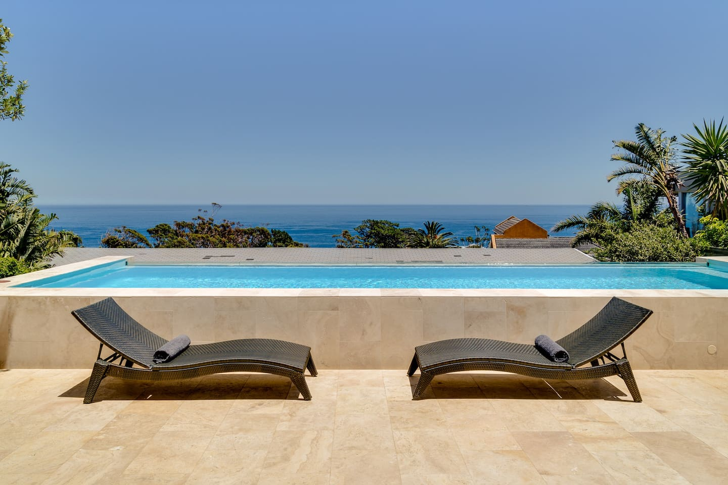 Large pool with sea views and pool room for entertaining
