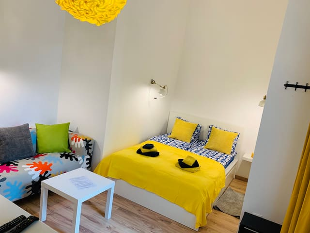 Room with a double bed, tv and a couch. (Air-Conditioning as well)