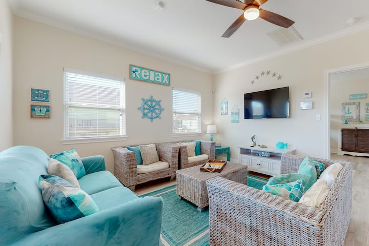 Charming raised home w/ wraparound deck & ideal location - 1000 ft to the beach