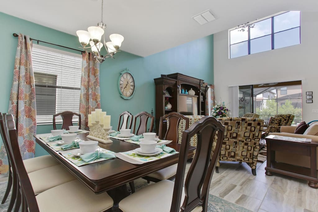 Located off the main living space and kitchen, this contemporary styled dining room area has seating for up to 8 guests to sit and enjoy meals together.
