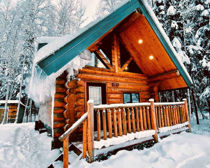 Alaskan Rustic Log Cabin//Aurora Views+Hot Tub